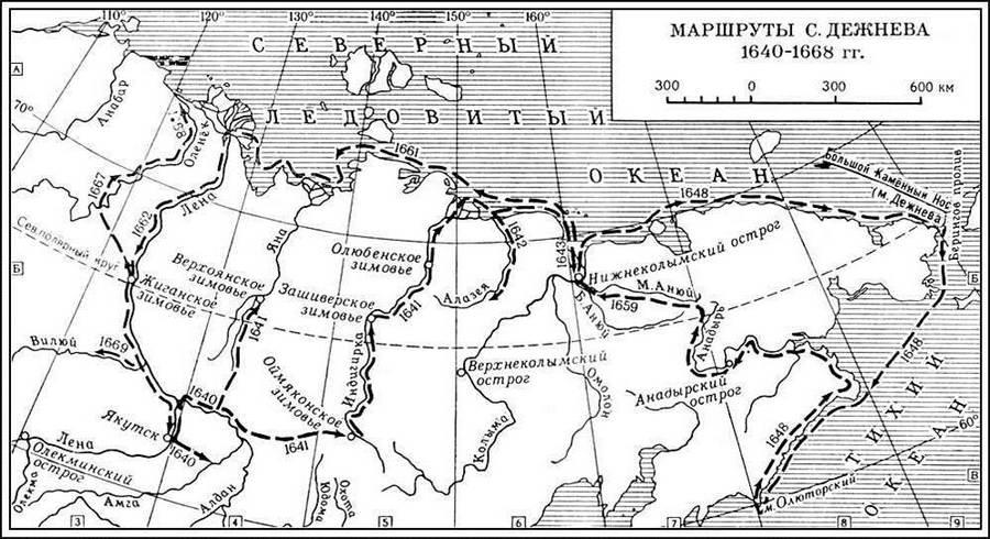 Карта с указанием пути Дежнева